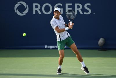 Novak Djokovic, primo giorno d'allenamento nell'Arthur Ashe stadium