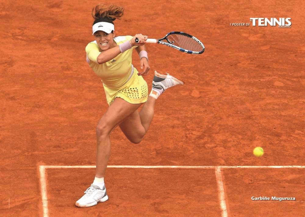 """Il ventisettesimo poster allegato al numero di luglio 2016 de """"Il Tennis Italiano"""" è dedicato a Garbine MuguruzaIl Tennis Italiano. Selezione di Max Grassi.Diritti riservati."""