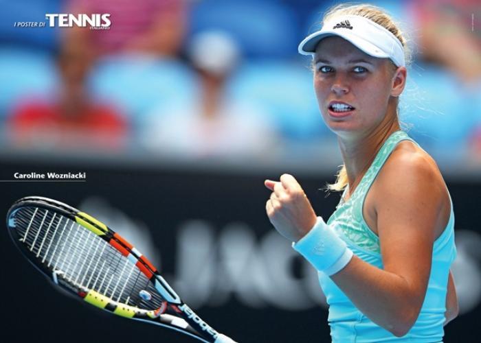 """Il tredicesimo poster allegato al numero di maggio 2015 de """"Il Tennis Italiano"""": Caroline Wozniacki. Il Tennis Italiano. Selezione di Max Grassi.Diritti riservati."""
