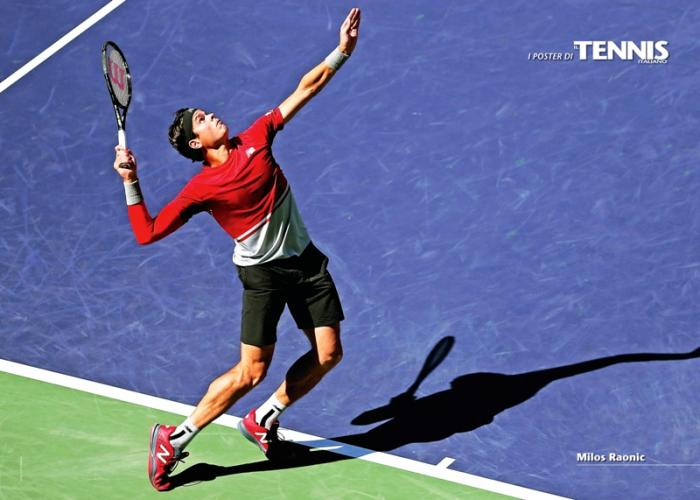 """Il ventiquattresimo poster allegato al numero di aprile 2016 de """"Il Tennis Italiano"""" è dedicato a Milos RaonicIl Tennis Italiano. Selezione di Max Grassi.Diritti riservati."""