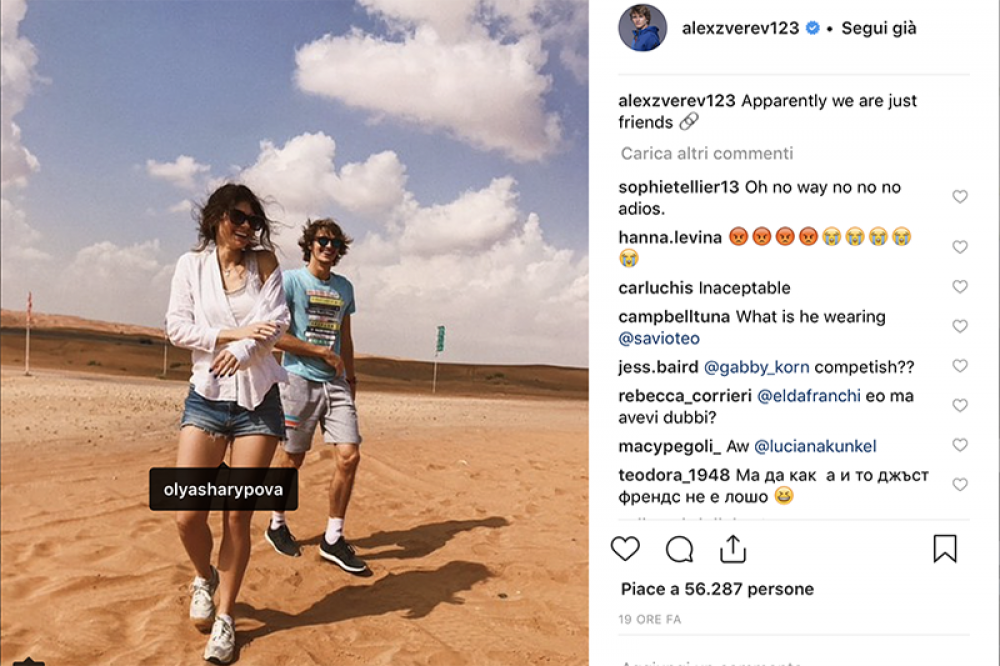 Ecco l'immagine postata da Sascha Zverev sul suo profilo Instagram e che ha mandato nello sconforto tante pretendenti: è in compagnia di Olya Sharipova (non Sharapova, eh) e scrive: apparentemente siamo solo amici...