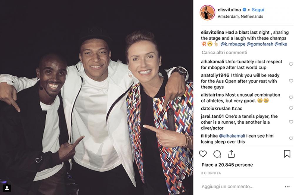 Elina Svitolina in compagnia di due fuoriclasse, Mo Farah e Kylian Mbappé